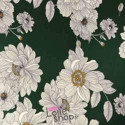 Néoprène SCUBA Crêpe Léger Motif Fleur de Lys Fond Vert