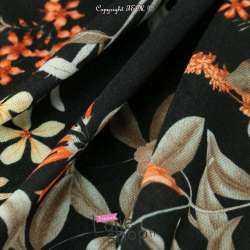 Jersey Polyester et Viscose Imprimé Fleuris Fond Noir