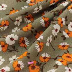 Tissu Crêpe Polyester Imprimé Fleurs Fond Kaki