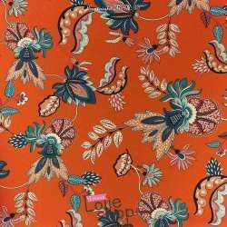 Satin Sergé Imprimé Motif Grandes Fleurs Fond Orange