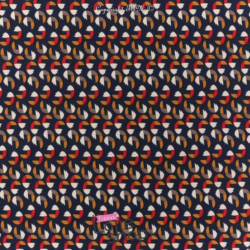 Microfibre Motif Imprimé Toucan Fond Bleu Marine