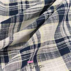 Toile Coton Effet Lin à Carreau Bleu et Blanc Fil Jaune