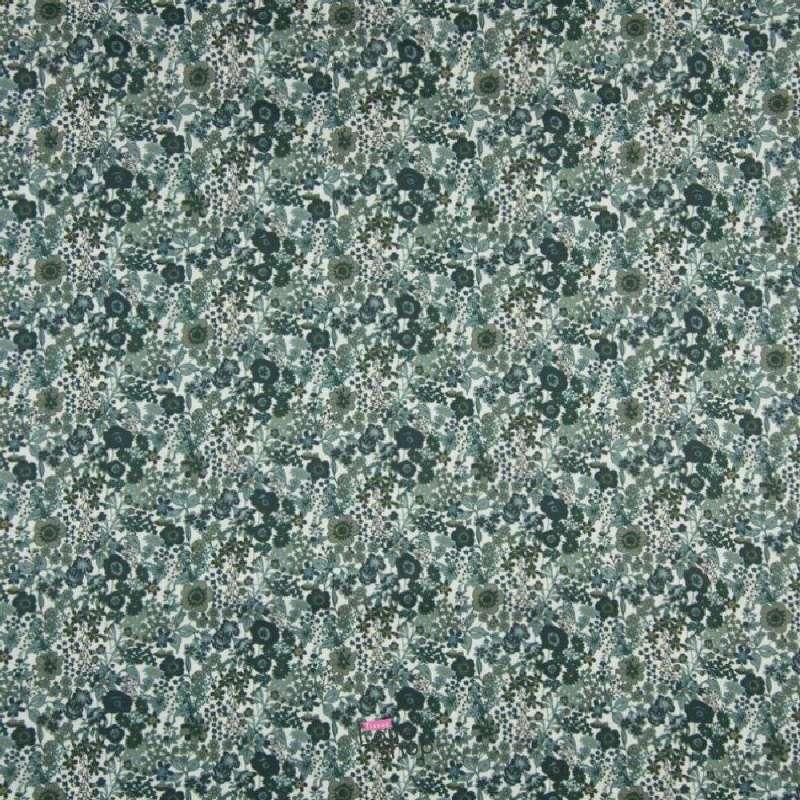Popeline Coton Impression Digital Fleuris Ton Vert