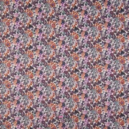 Popeline Coton Impression Digital Fleuris Ton Terracota