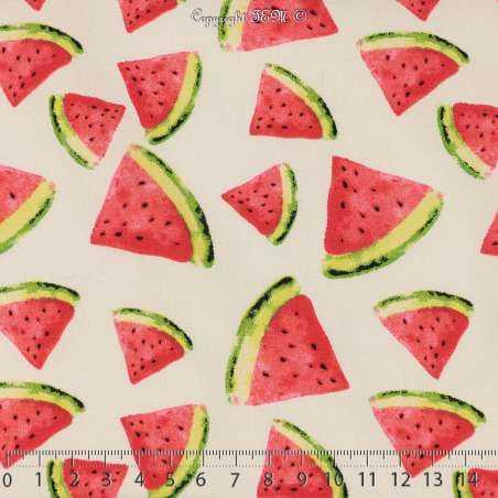 Satin de Coton Élasthanne Imprimé Triangles de Pastèques - Photo 15x15 Cm