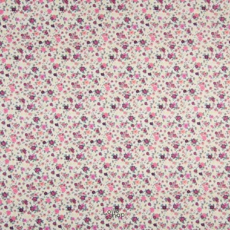 Popeline Coton Impression Digital Fleuris Ton Rose