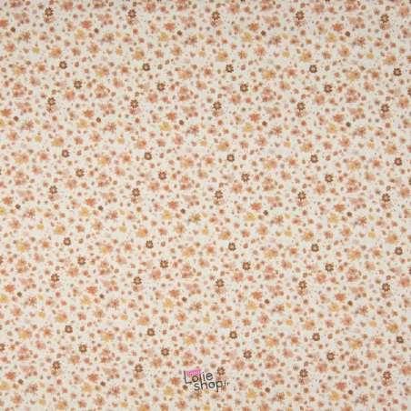 Popeline Coton Impression Digital Fleuris Ton Jaune