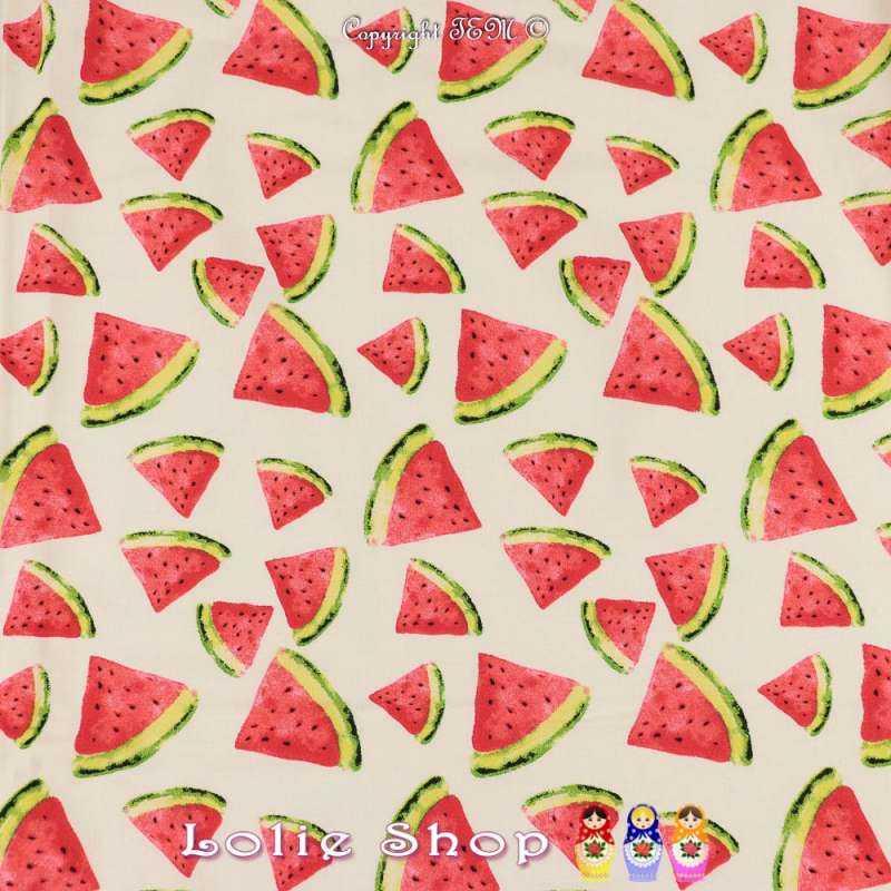 Satin de Coton Élasthanne Imprimé Triangles de Pastèques