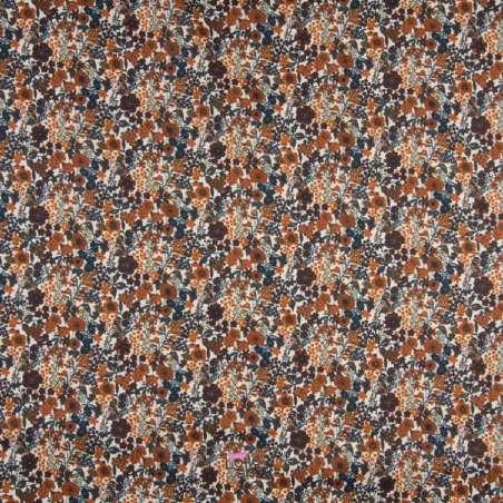 Popeline Coton Impression Digitale Fleuris Ton Terracotta