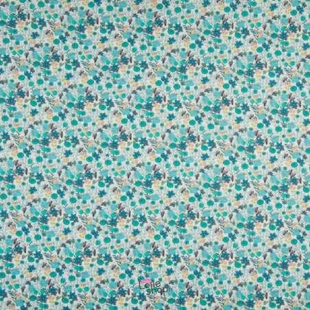 Popeline Coton Impression Digitale Fleuris Ton Turquoise