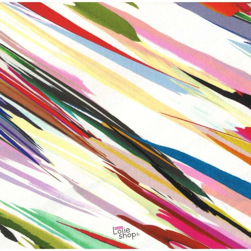 Jersey Viscose Imprimé Graphique Multicolore Fond Ecru