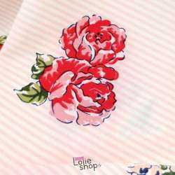 Coupon Microfibre Imprimé Rayures et Fleurs Ton Rose