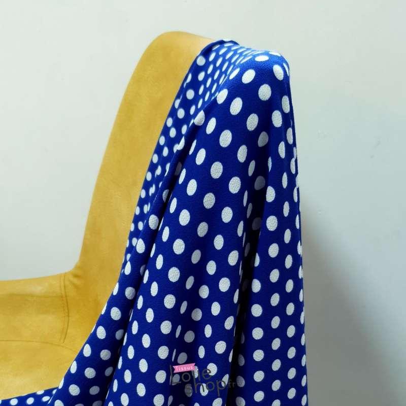 Coupon Crêpe Bubble Imprimé Bleu Roi à Pois