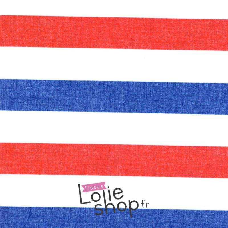 Tissu Voile Polyester Grosse Rayures Bleu Blanc Rouge