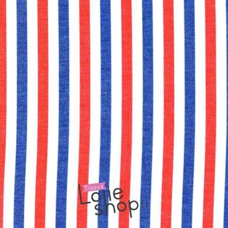Tissu Voile Polyester Fine Rayures Bleu Blanc Rouge
