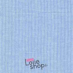 Tissu Voile Polyester Fine Rayures Bleu