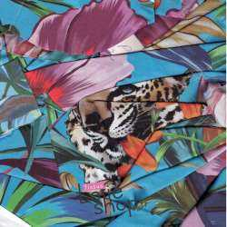 Satin Imprimé Tête de Tigre et Fleurs