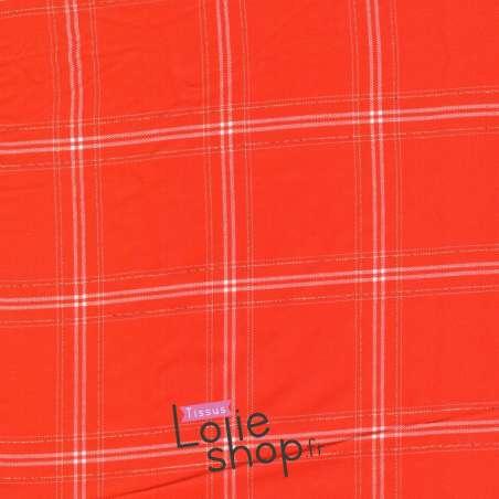 Coupon Tissu Viscose Lurex Or à Carreaux Rouge