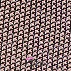Coupon Jersey Crêpe Imprimé Graphique Rose et Beige