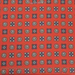 Crêpe Imprimé Modèle ARTEMISA Ton Corail & Gris - Photo 15x15 Cm