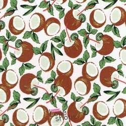 Coupon Viscose Imprimé Noix de coco - coconut
