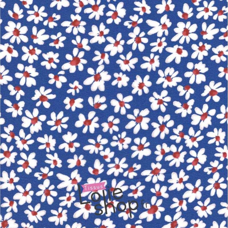 Crêpe Georgette Motif à Fleurs Ton Bleu Roi