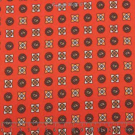 Crêpe Imprimé Modèle ARTEMISA Ton Corail & Orange - Photo 15x15 Cm