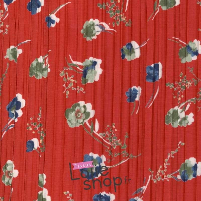 Satin Plissé imprimé à Fleur Fond Corail