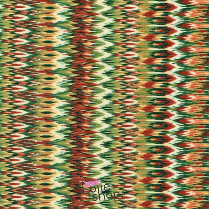 Coupon Jersey Crêpe Imprimé graphique Ton Vert