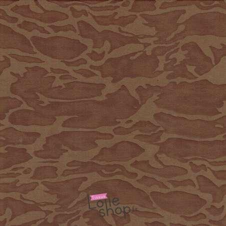 Simili-Cuir Élasthanne Lourd Effet Camouflage Terre de Sienne