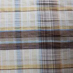 tissu coton polyester couleur jaune et marron et des bandes bleu