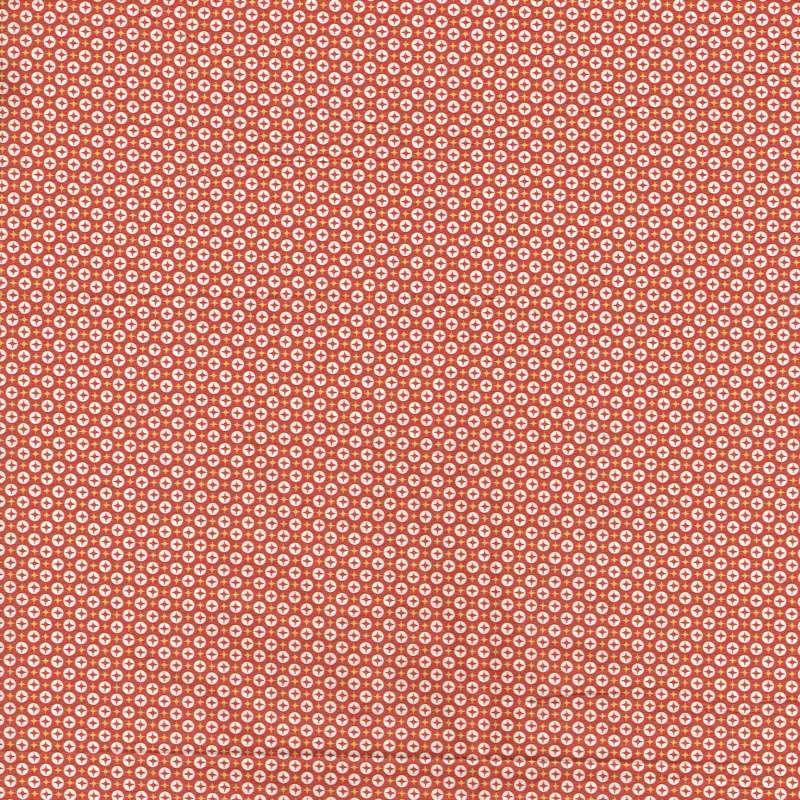 Coupon Popeline Coton Impression Digitale Géométrique ton Orange