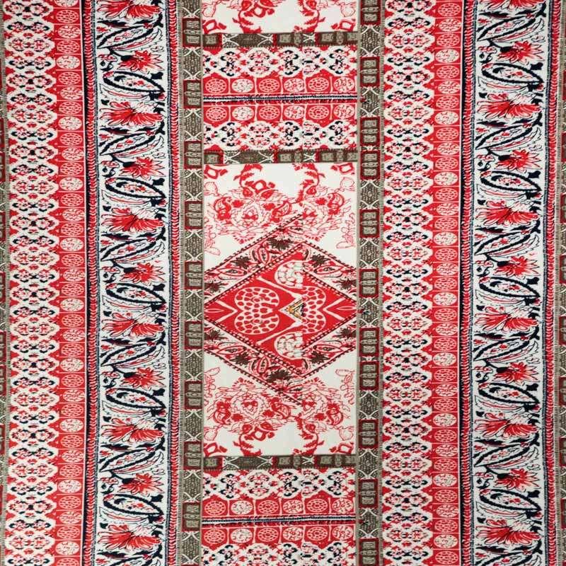 tissus Jersey Cristal  motif géométrique rouge