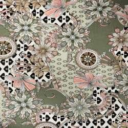 Tissu Jersey-Cristal kaki imprimé motif fleures