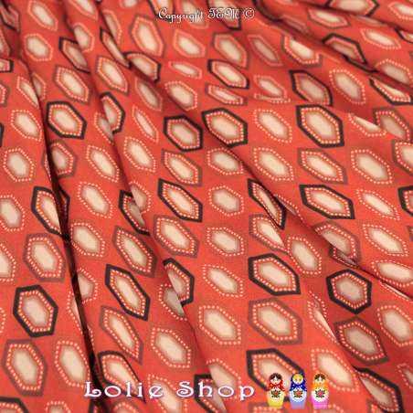 Crêpe Imprimé Modèle HEXA Ton Corail