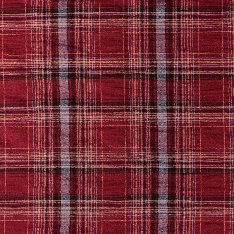 tissu Coton Tissé Petit Carreaux couleur noir rouge
