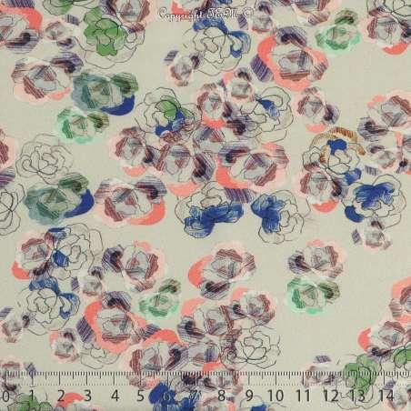 Microfibre Élasthanne Imprimé Modèle ESQUISSE Motif Fleurs Fond Vert Lichen - Photo 15x15 Cm
