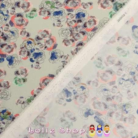 Microfibre Élasthanne Imprimé Modèle ESQUISSE Motif Fleurs Fond Vert Lichen