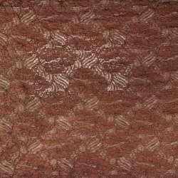 Tissu dentelle motifs fleurs MARRON
