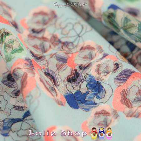Microfibre Élasthanne Imprimé Modèle ESQUISSE Motif Fleurs Fond Bleu Givré
