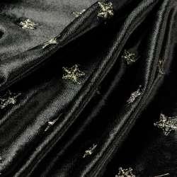 tissus Velours noir bordé motif Etoiles or