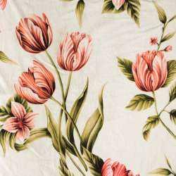 Viscose Imprimé tulipe Sur fond Blanc