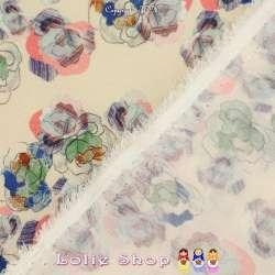 Microfibre Élasthanne Imprimé Modèle ESQUISSE Motif Fleurs Fond Crème