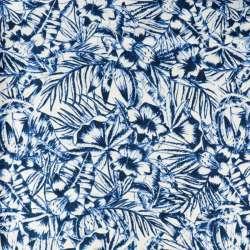 Jersey Maillot Fond Blanc Motif feuillage bleu
