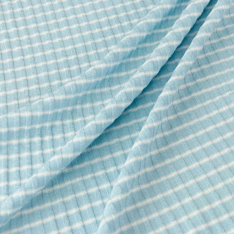 Tissu Maille Viscose Côtelé Rayures Blanc Et Bleu Ciel