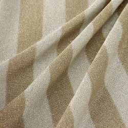 Jersey Viscose rayures larges taupe  Et Blanc