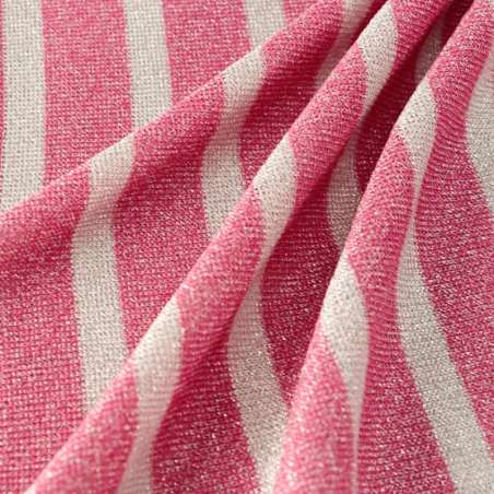 Jersey Viscose Motifs Rayés rose Et Blanc