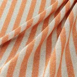 Jersey Viscose Petites rayures orange et blanc