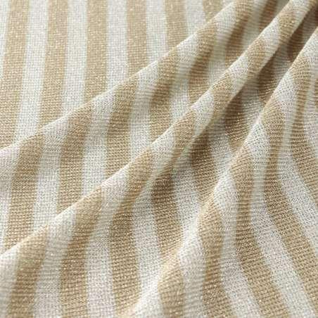 Jersey Viscose Motif Fine Rayures Taupe Et Blanc