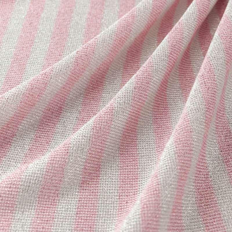 Jersey Viscose Motif Fine Rayures rose et blanc
